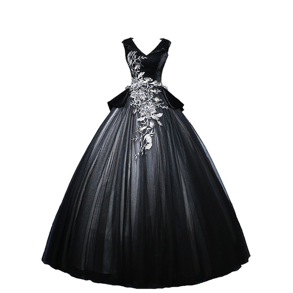 100%real black velvet and organza embroidery studio theme court ball gown medieval dress Renaissance queen Victorian ball gown Belle Ball