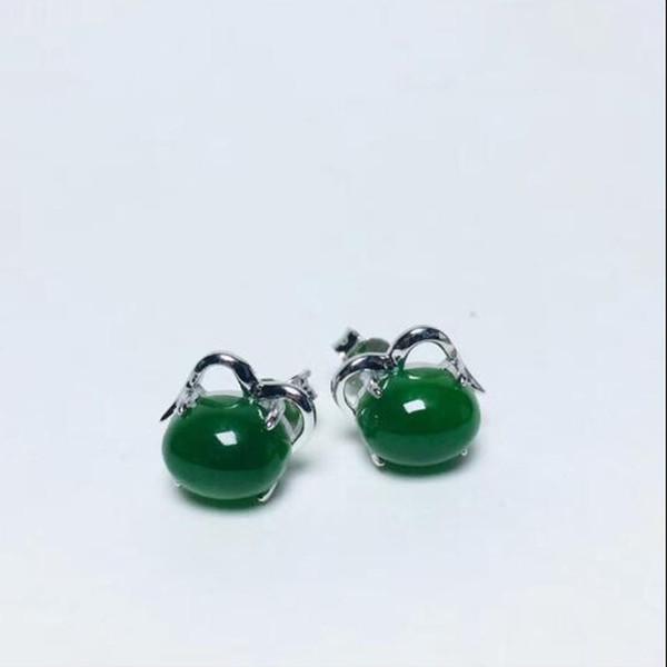 Otantik Doğal Ve Hetian Jade Küpe 925 Gümüş Kakma Jasper Yumurta Erişte Küpe Kadınlar Takı