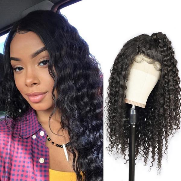 Cabelo peruano Em Linha Reta Cabelo Humano Dianteira Do Laço Perucas Brasileira Kinky Curly rendas frente perucas Onda Do Corpo Onda Do Corpo Perucas de Cabelo Humano Profundo Solto