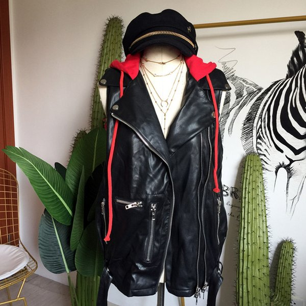 European And American Streetwear Red Hooded Neckline Casual Leather Vest Front Zipper Design With Waist Sashes Women Vest Coat
