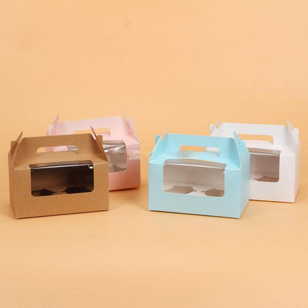 Card Paper Cupcake Boxes Cake Packaging Boxes Holder 2pcs Muffin Box with Handle
