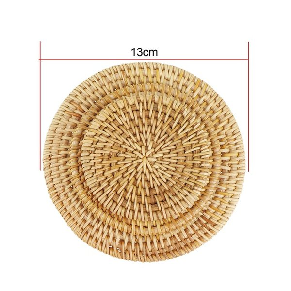 Handmade Rattan Cup Coasters Set Pot Pad Table Mat Placemats Home Decoration Vintage Bamboo Tea Ceremony Accessories ZJ0507
