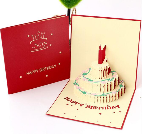 3D Birthday cake scalable gift card children adult universal handmade creative paper carving hollow greeting blessing card