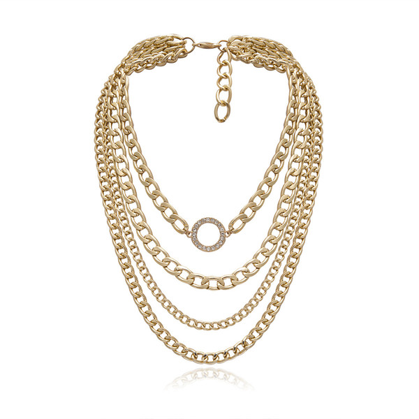 Fashion Bohemia Multilayer Necklace for Women Party Exaggerated Chain Geometric Crystal Circle Chunky Choker Girls Charm Jewelry