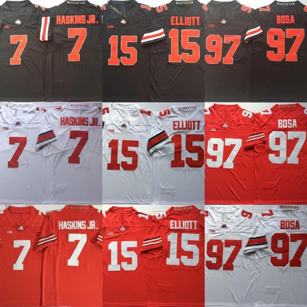 Ohio State Buckeyes # 7 Dwayne Haskins Jr. 15 Ezekiel Elliott # 97 Camisetas de fútbol americano Nick Bosa College Envío gratis Tamaño S a 3XL
