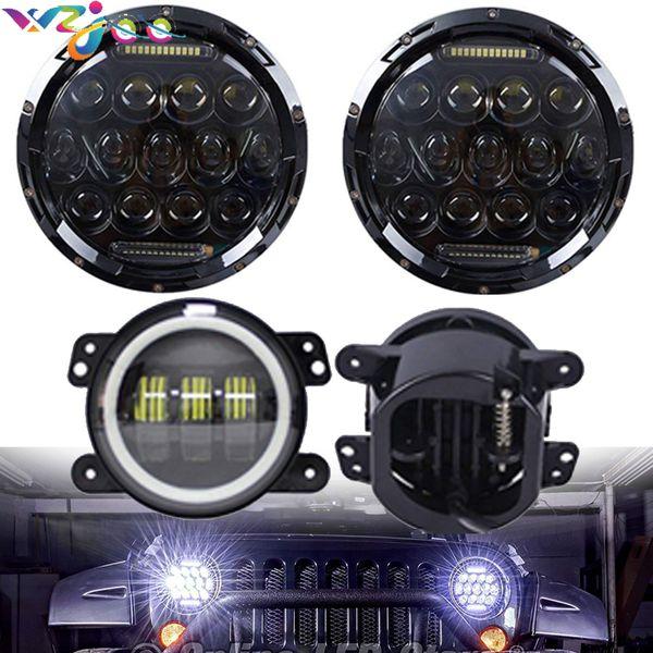 For Jeep Wrangler JK LJ 7inch LED Headlights/ White DRL/Amber Turn Signal + 4 inch LED Fog Lights White DRL Halo Ring
