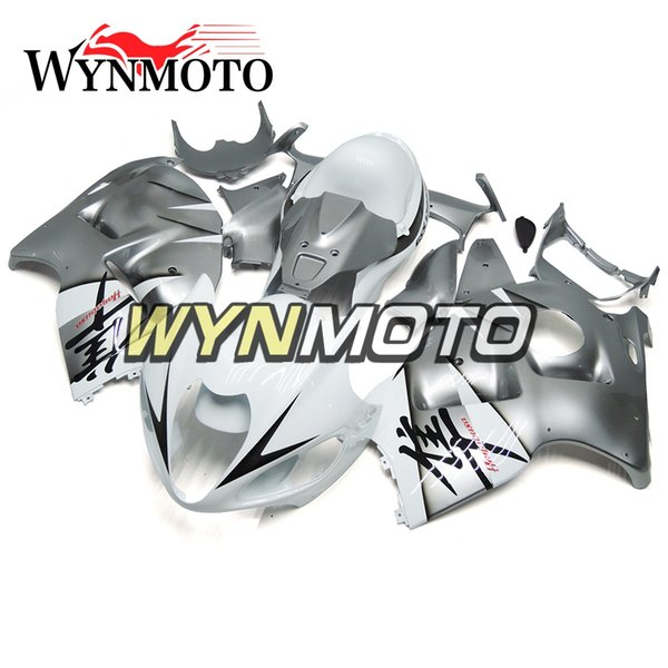 Motorcycle Fairings For Suzuki GSXR1300 Hayabusa 1997 1998 1999 2000 2001 2002 2003 2004 2005 2006 2007 Light Silver White ABS Plastic Cover