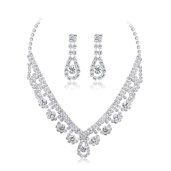 hair accessories for women New Fashion Bridal Necklace Set Joker Personality Temperament Necklace Earrings Two Piece Spot