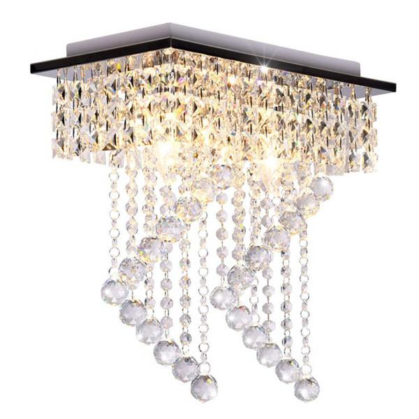 Flush Mount Light Fixture Modern Crystal Chandelier Ceiling Light Square Aisle Corridor Crystal Living Room Bedroom Ceiling Lamp