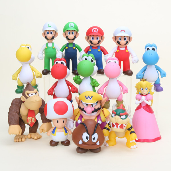 super 8~15cm Super Bowser Koopa Yoshi Luigi Donkey Kong Ghost Peach Mushroom maker Action PVC Figures Toys gifts
