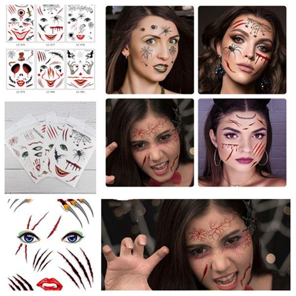Etiqueta do tatuagem de halloween rosto colar criativo adesivo cicatriz horror tatuagens temporárias adesivo à prova d 'água adesivos decorativos T2I5407