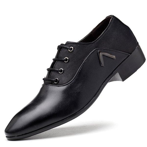 Men Formal Shoes Breathable Lace-up Flat Business Pointed Toe Wedding Shoes PU Leather Male Dress HH-629