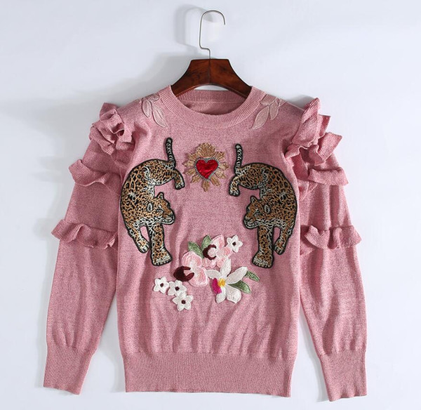 Winter Christmas Animal Embroidery Pink Knitted Sweaters Pullovers Women Runway Design Ruffle Elegant Clothes Lady Jumper