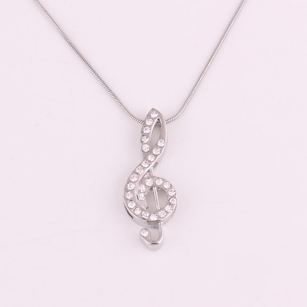 Hop Jewelry Necklace Musical Note Shape Silver Plated Crystal Rhinestone Snake Chain Necklace