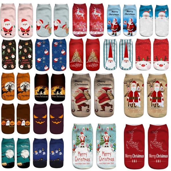 Xmas Halloween Printed Socks For Santa Claus Reindeer Pumpkin 3D Soft Texture Short Boat Socks Christmas Decorations Cartoon Sock AN2206
