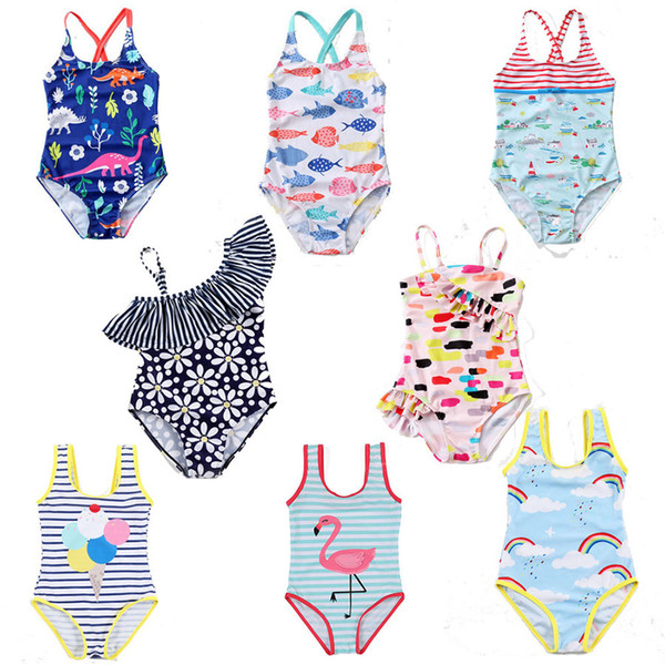 top popular Children Swimwear baby girls Unicorn Flamingo Dinosaur Floral rainbow Stripe print swimsuit 2019 summer fashion Bikini Kids One-Pieces C6023 2021