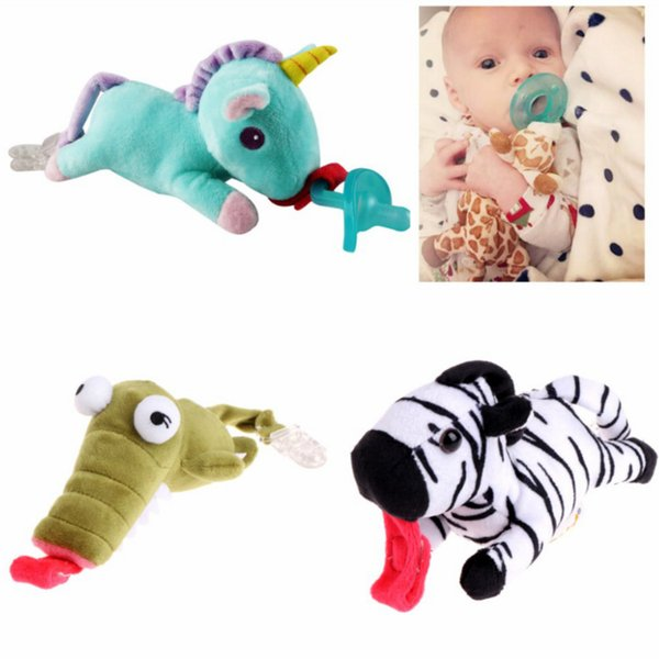 Cute Animal Baby Dummy Pacifier Clip Infant Plush Toy for Children Soother Nipples Holder Feeding Baby Supplies