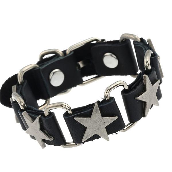Fashion Star fascino del metallo Bracciali Donna Uomo Bracciale in pelle Bangles Wristband vera pelle regolabile Maschio Gioielli Pulseira