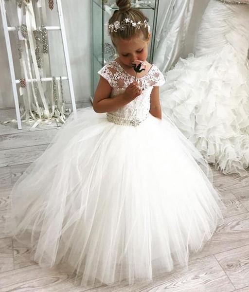 Mancherons 2019 robes fille fleur pour les mariages robe de bal Tulle Dentelle Perles longues robes première communion pour les petites filles