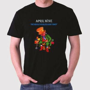 April Wine The Whole World's Goin' Crazy Logo Men's BlaRock T-Shirt Size S to 3XL