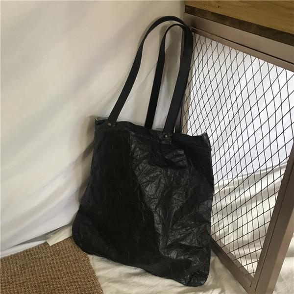 Youda New Kraft Paper Waterproof One Shoulder Large Capacity Shopping Bag Solid Color Simple Handbag