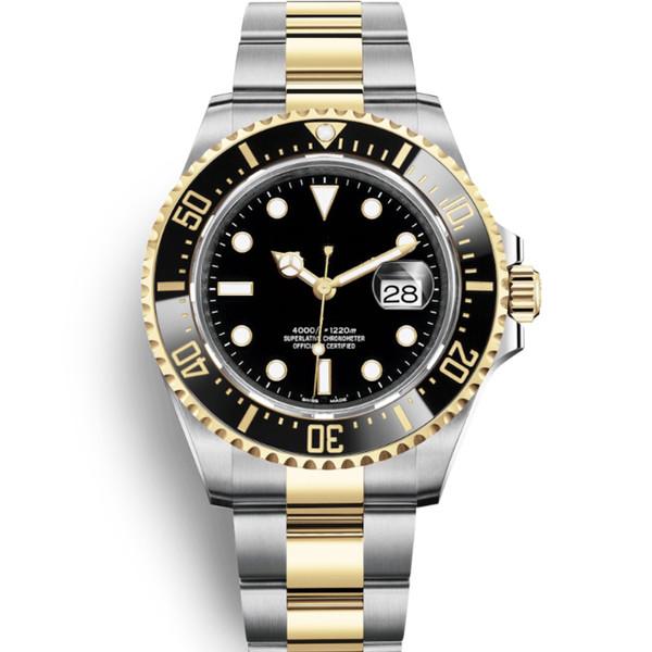 Glide bloqueio Fecho de luxo Sea-Dweller 44 milímetros Waterproof Mens Designer relógio automático Homens Movimento mecânico Wacthes cerâmica relógios de pulso