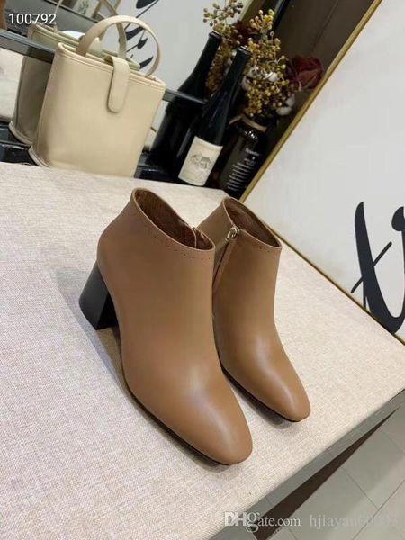 2019 Femmes bottes de luxe en cuir cheville botte talon chunky chaussures Martin Imprimer Plate-forme en cuir Desert Bottines à lacets ht0816