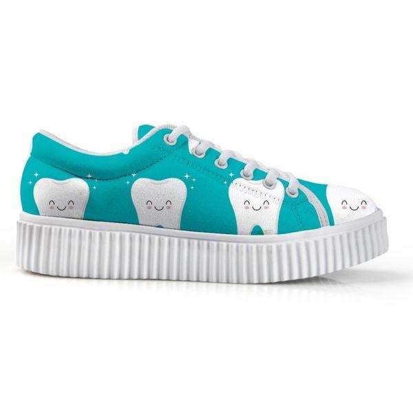 Cute Cartoon Teeth Nursing Bottle Brand Women Flats Platform Shoes Woman Casual Height Increasing Low Style Ladies