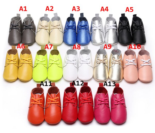 Leather Baby Shoes Toddler Boy Girl Soft Sole Moccasins Kids Solid Color booties 13Colors 5size choose
