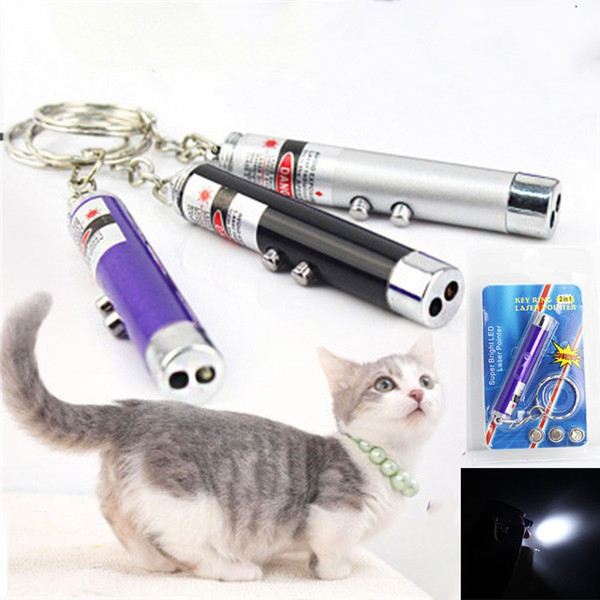 best selling Hot 2 In1 Red Laser Pointer Pen Key Ring with White LED Light Show Portable Infrared Stick Funny Tease Cats Pet Toys With Retail Package