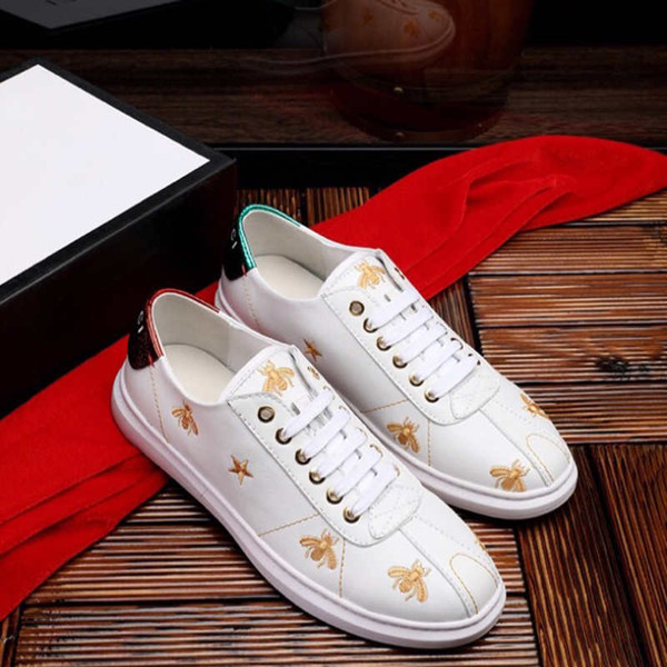 luxury Shoes Mens designer Shoes for Adult new Brand with Bee Embroidery fashion Tide Casual Shoes Black and White EUR 39-44