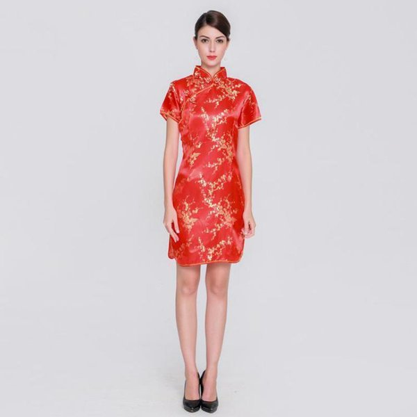 2019 Pop 2019 Plus Size Women Short Qipao Amazing Female Rayon Dress  Elegant Slim Chinese Dress Mandarin Collar Vintage Cheongsam Vestidos From  Tikoy, ...