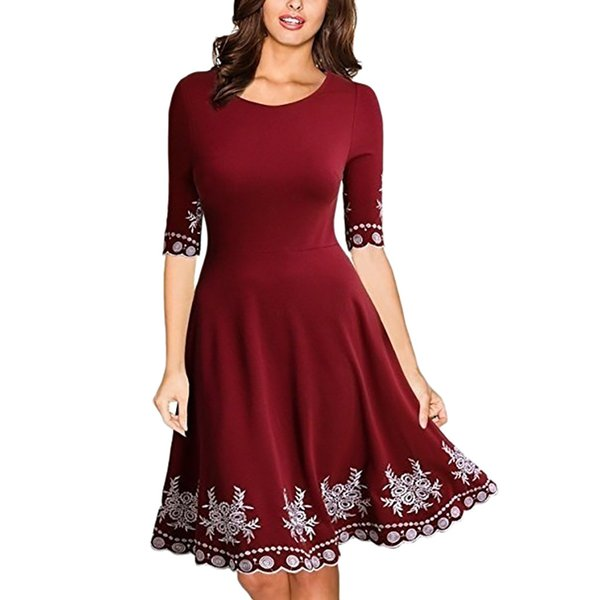 Women Fashion Fit and Flare Print Casual Dress Half Sleeve O-neck Print Casual Slim S-5XL Dress