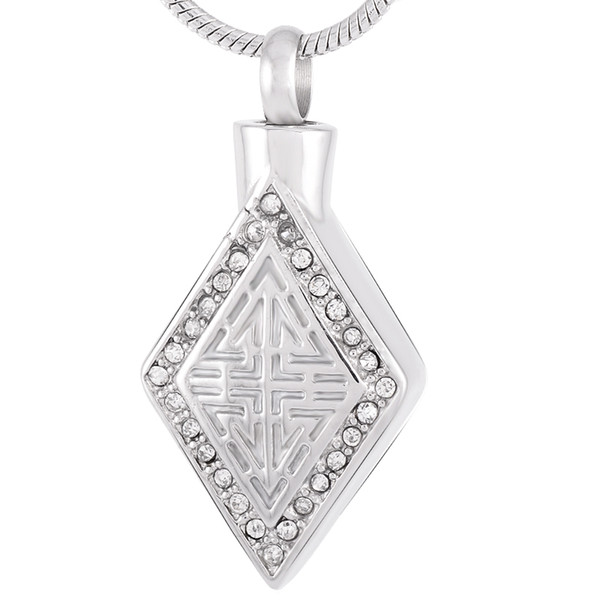 Stainless Steel Crystal Rhombus Cremation Keepsake Pendant for Memorial Ashes Urn Necklace for Women with Chain Jewelry IJD9218