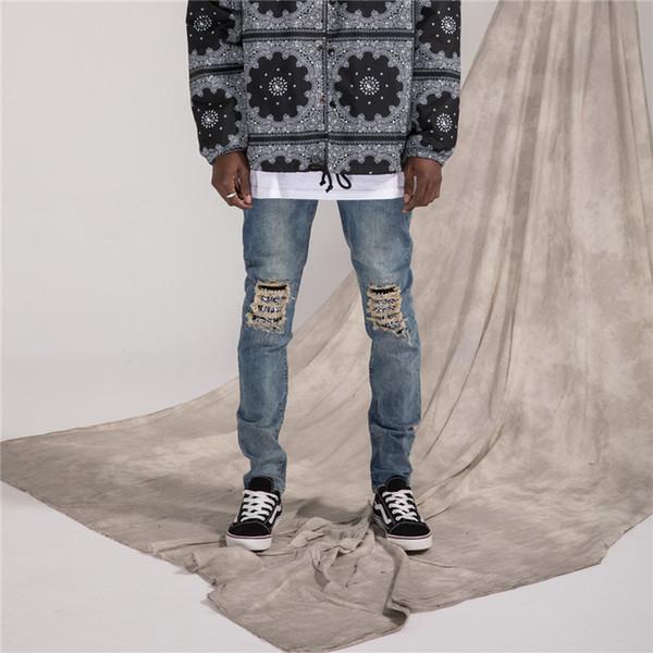 Nuova Europa e gli Stati Uniti marea marchio usura patch rotto piedi piedi jeans uomini high street vento raschiato anacardi fiore stitchi