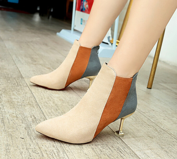 booties female 2020 new korean color matching high heels female stiletto pointed fashion boots wild martin boots children