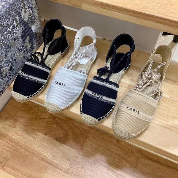 best selling designer platform casual Sandals summer fashion Alphabet fisherman shoes luxury woman shoe Hemp rope grass woven Baotou sandals size 35-42