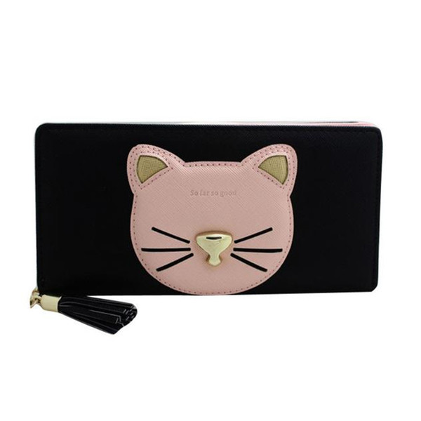 Women Zipper Wallet Cute Cat Pattern Ladies Leather Long Purse Clutch Coin Bag Wallet Card Holder Zipper Wallet For Women