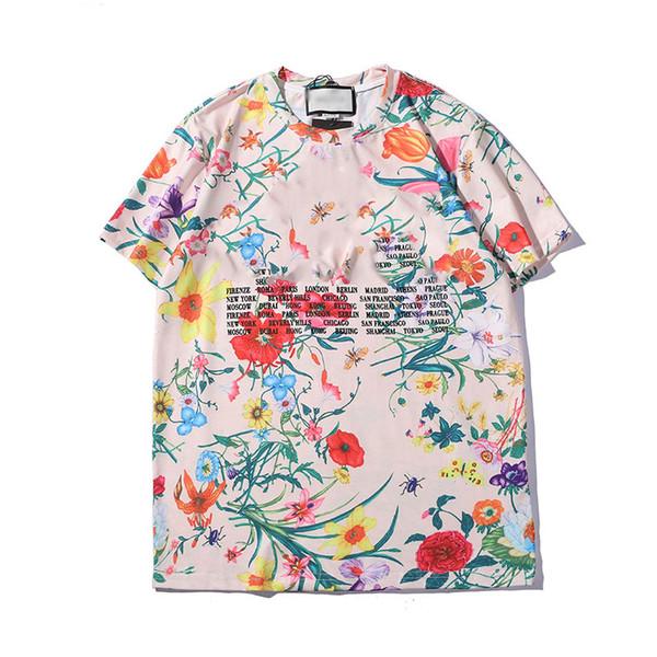 GG verão designer dos homens Tshirt personalizado impressão floral Tshirts rua hip hop tendência T-shirt de algodão confortável selvagem T shirt moda casual tees