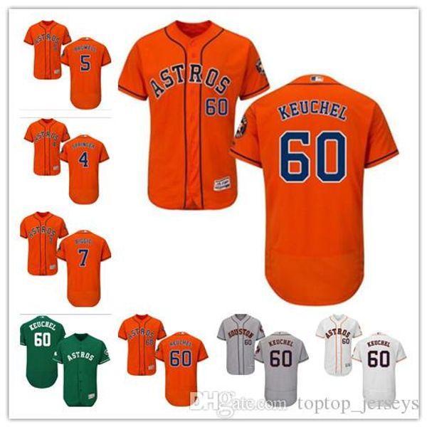 Benutzerdefinierte Frauen der Männer Houston Astros Jersey # 4 George Springer 5 Jeff Bagwell 7 Craig Biggio 60 Dallas Keuchel-Heimtrikot