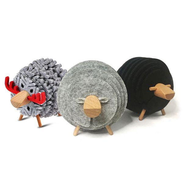 Cute Shape Anti Slip Drink Coasters Insulated Round Felt Cup Mats
