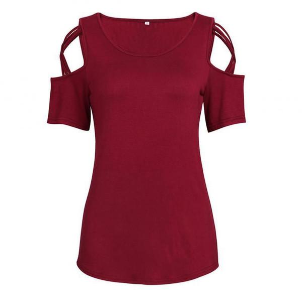 Women Open Shoulder T-shirt With Bow Tie Womens Fashion Crewneck Shirt Sleeve T Shirt Tee Tops Summer Clothes