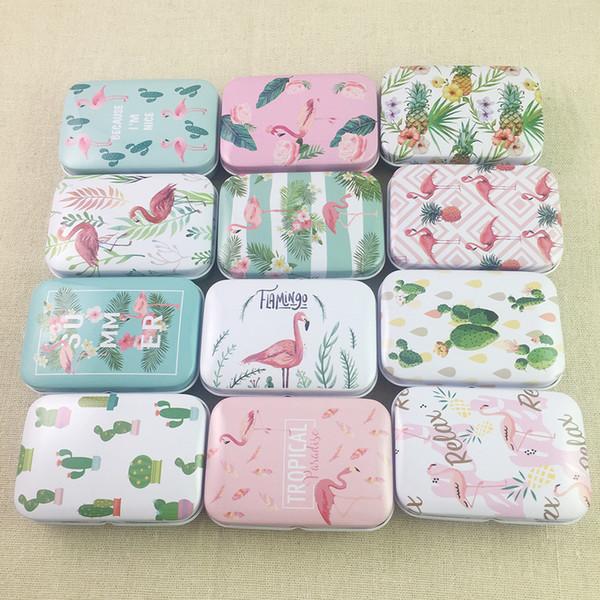 36pcs/lot Fresh Flowers Square Shape Tin Storage Case Mini Pill Box with Lid Diy Jewerly Case Pocket Box C19010501