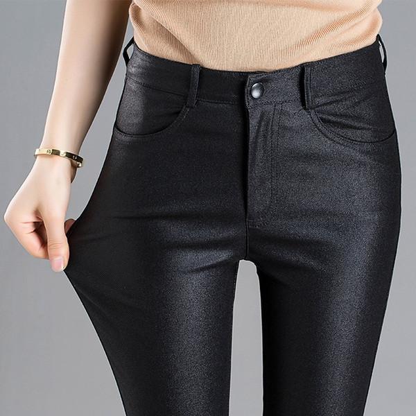 2018autumn winter new female nero opaco chaparajos leggings elasticizzati medio-elasticità rivestimento a metà PU ecopelle # 497000
