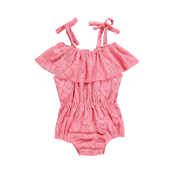 Summer Cute Baby Girls Clothes Summer Sunsuit Pink Heart Print Princess Rompers Infant Outfit Girls Jumpsuit Clothing Set