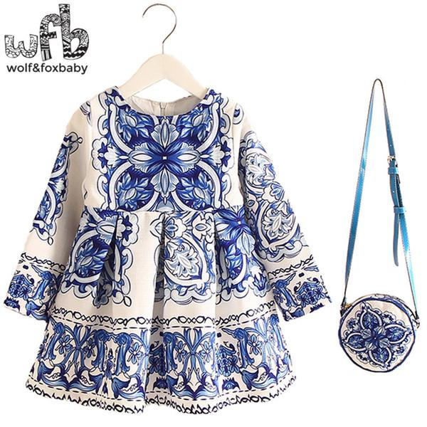 Retail 2-8years Dress+Bag/set New Cute Kids Baby Girl Summer Spring Fall Long-Sleeve Perfume Princess Flower China blueMX190912