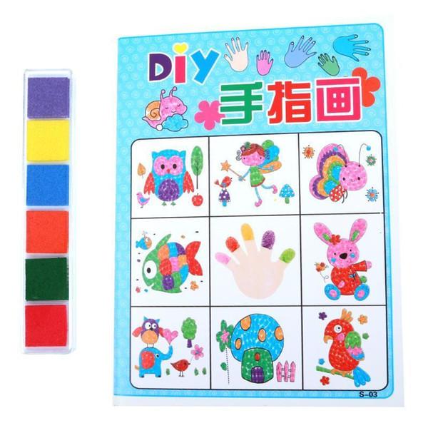 top popular 8 Pcs set Cartoon Kid Finger Painting Craft Set Children coloring book Fingerpaint Drawing Tool Education Toys Wholesale 2021