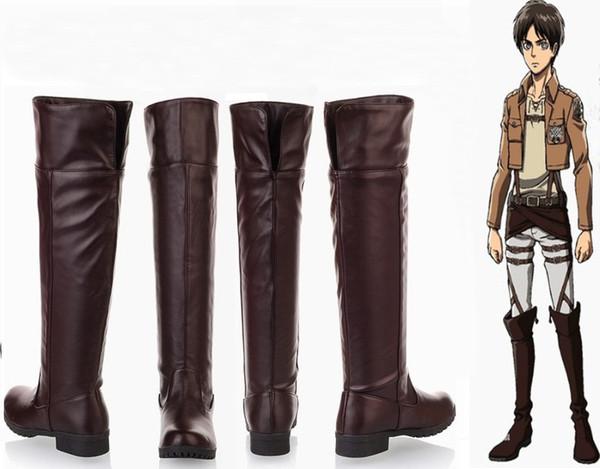 Unisex Attack on Titan Shingeki no Kyojin Eren Levi Cosplay Boots Knee Length Cosplay Shoes Black Brown Euro Size 35-44