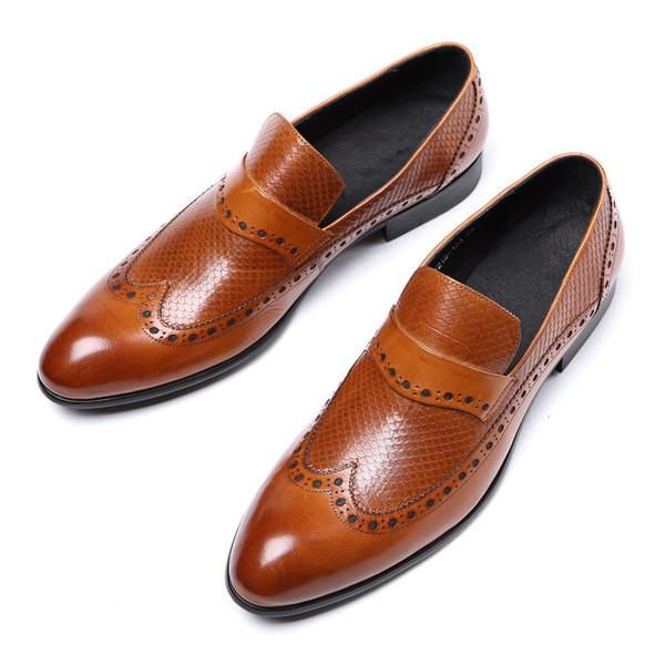 Marque Business Mens Chaussures Habillées En Cuir Véritable Noir Italien De La Mode Masculine Chaussures 2019 Slip On Pour Hommes JS-A0033