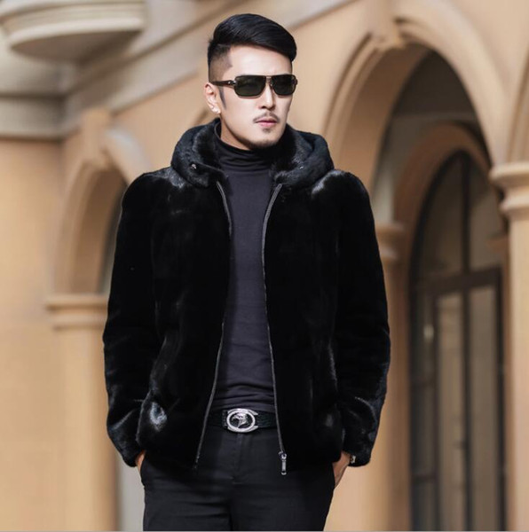 2019 Autumn Faux Mink Leather Jacket Mens Hooded Coats Winter Thicken Warm Fur Leather Coat Men Slim Jackets Jaqueta De Couro Fashion From Pamele,